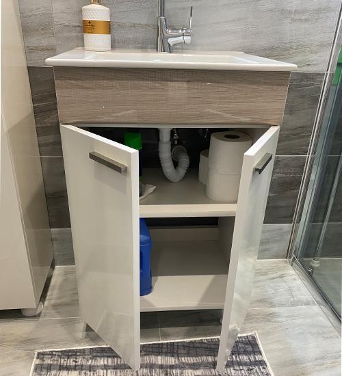 ПВЦ шкаф с мивка за баня браун 55 см