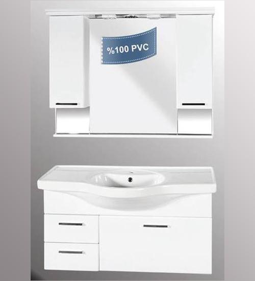 ПВЦ комплект ебели за баня бял хилтън 80 см