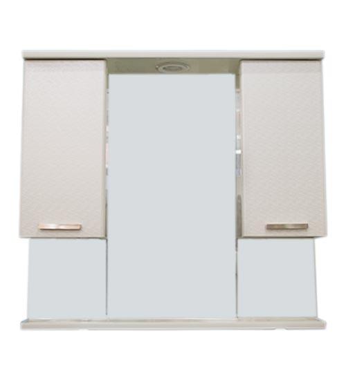 ПВЦ горен шкаф за баня с огледало бяло 80 см