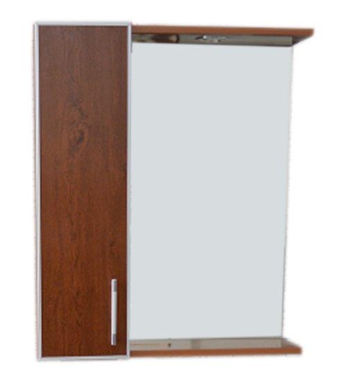 ПВЦ огледало за баня с лед осветление в цвят орех 65 см