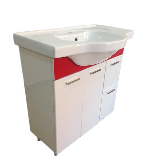 ПВЦ комплект мебели за баня в бяло и червено 80 см