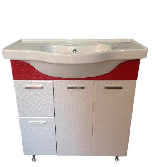ПВЦ долен шкаф за баня с мивка червен с чекмедже 80 см