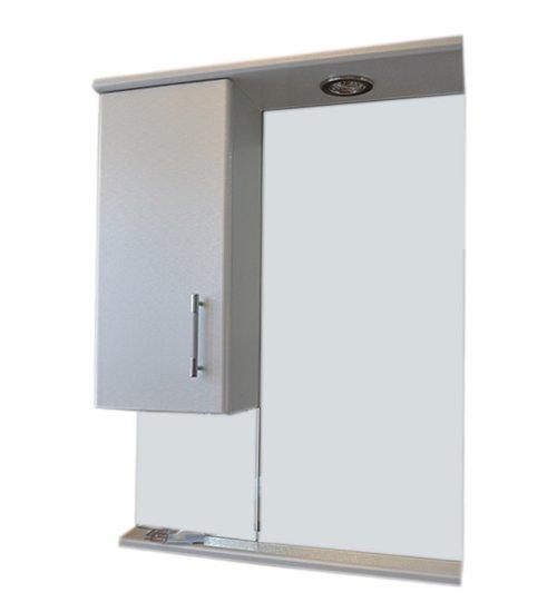 ПВЦ горен шкаф за баня с огледало и лед осветление 55 см