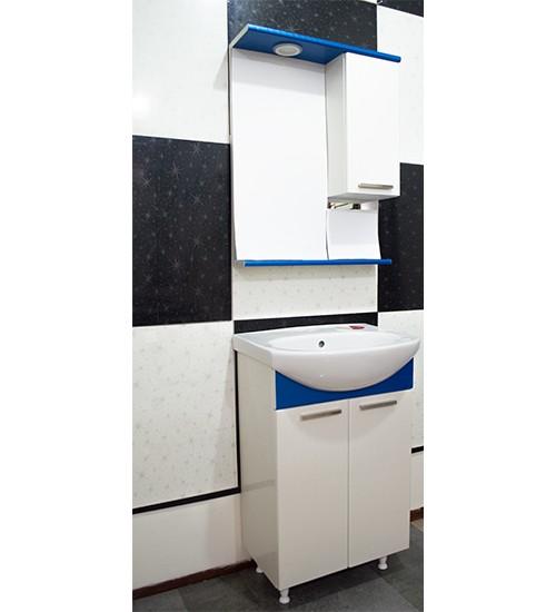 ПВЦ комплект ебели за баня в бяло и синьо 55 см