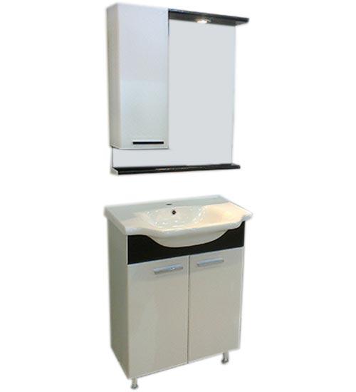 ПВЦ комплект шкафове за баня бяло и черно 55 см - долен с мивка и горен