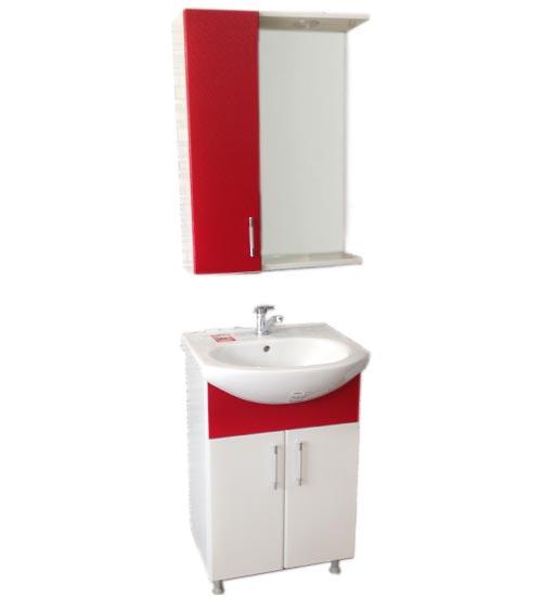 ПВЦ комплект мебели за баня бяло и червено 55 см