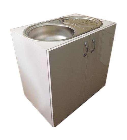 ПВЦ кухненски шкаф с алпака мивка бял mt200