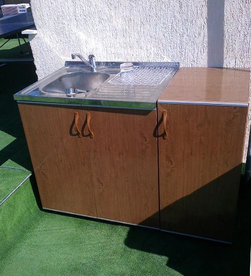 ПВЦ шкаф за кухня с алпака мивка кафяв mt500