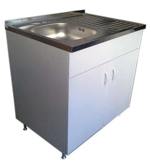 ПВЦ шкаф за кухня с алпака мивка бял mt500