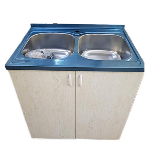 ПВЦ шкаф за кухня с двойна алпака мивка бежова mt500