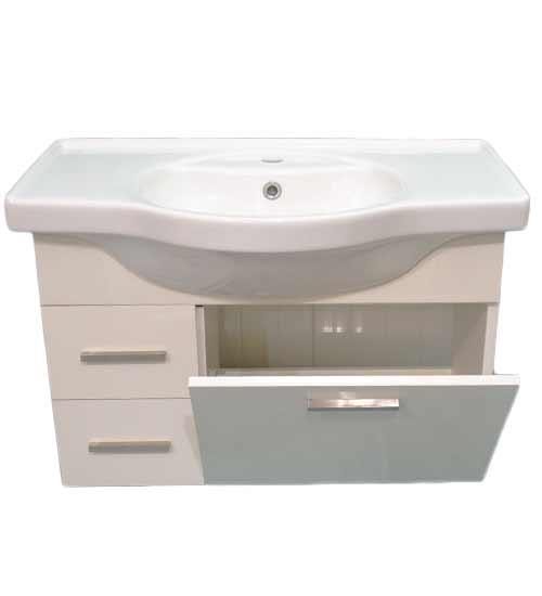 ПВЦ висящ шкаф с мивка и чекмедже за баня 80 см браун