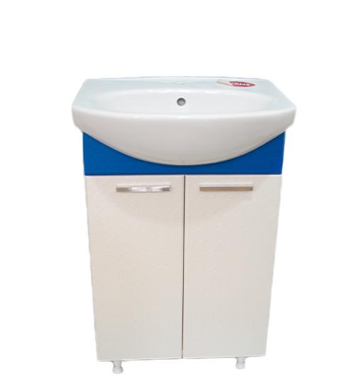 ПВЦ долен шкаф за баня с мивка в синьо 55 см