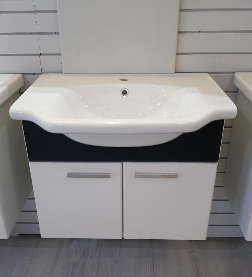 ПВЦ висящ шкаф с мивка за баня 55 см мароко
