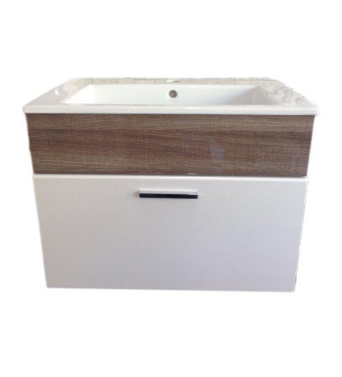 ПВЦ висящ шкаф с мивка за баня 65 см бадем