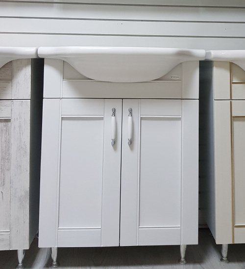 ПВЦ шкаф с мивка за баня старинно дърво бял 55 см