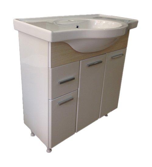 ПВЦ шкаф с мивка за баня бежов 80 см