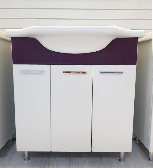 ПВЦ шкаф с мивка за баня лилав 80 см
