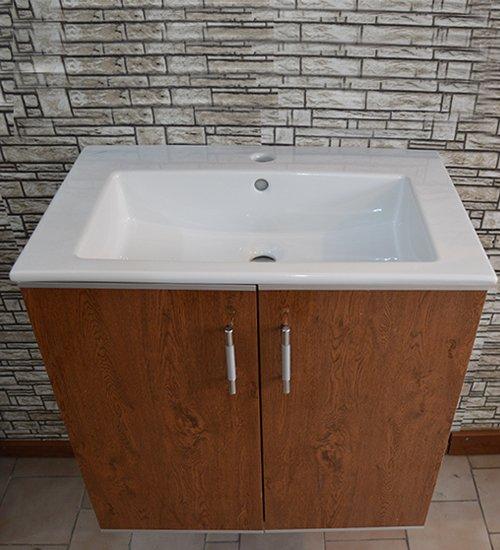 ПВЦ висящ шкаф с мивка за баня цвят орех 65 см