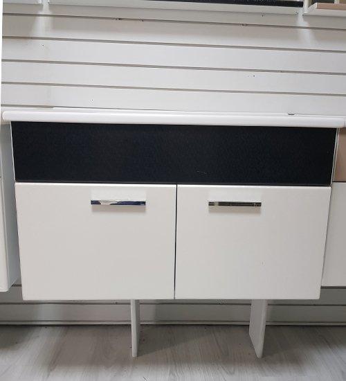 ПВЦ висящ шкаф с мивка за баня 80 см бяло и черно