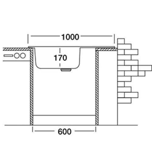 Алпака мивка за кухня 50х100 см EC330 с голям плот