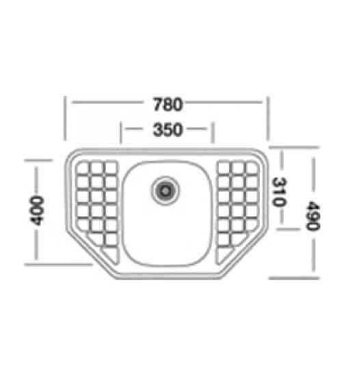 Алпака мивка за кухня с два отцедника 49 х 78 см EX162