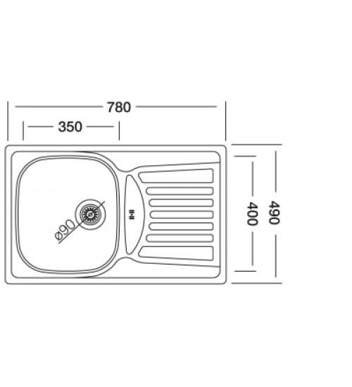 Алпака мивка за кухня с отцедник 49 х 78 см EX164
