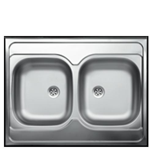 Двойна бордова мивка за кухня неръждаема 60 x 80 см EC132