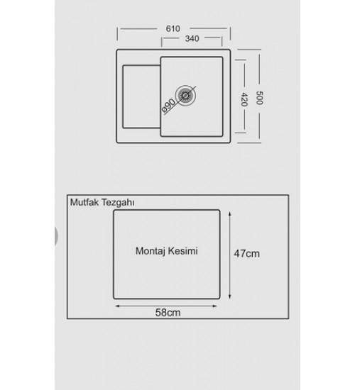 Гранитна мивка за кухня с дълбоко корито Prim 50 х 61 см