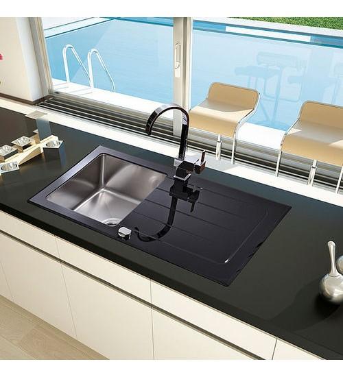 Кухненска мивка от термоустойчиво стъкло черен гланц 50 х 86 см