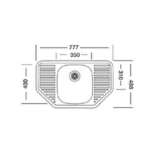 Алпака мивка за кухня неръждаема 48 х 78 см EX161 UK