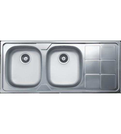 Двойна алпака мивка за кухня 50 x116 см EX316