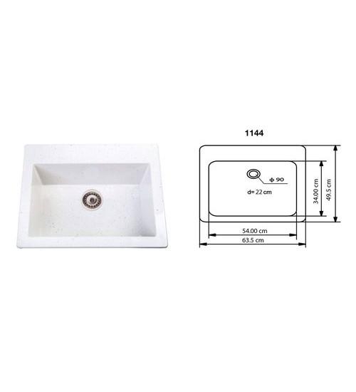Полимермраморна мивка с дълбоко корито Roma