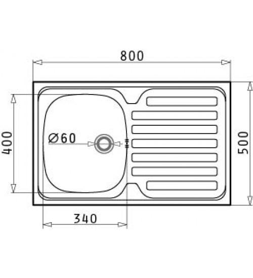 Алпака мивка за кухня International 80x50