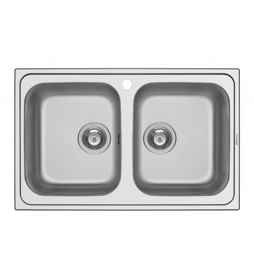 Алпака мивка за кухня E78 с две корита 78 x 43,5