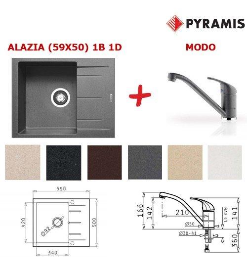 Комплект мивка Alazia 59 х 50 и Смесител Modo за кухня