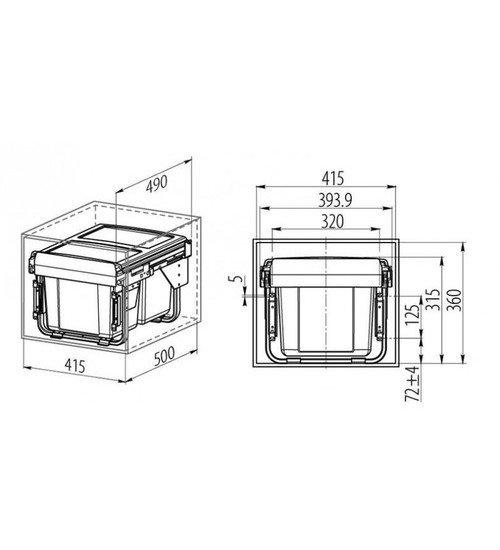 Кухненски кош за вграждане с плавно прибиране 40 см