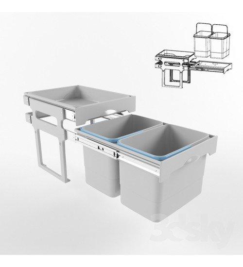 Кухненски кош за вграждане в шкаф с полица
