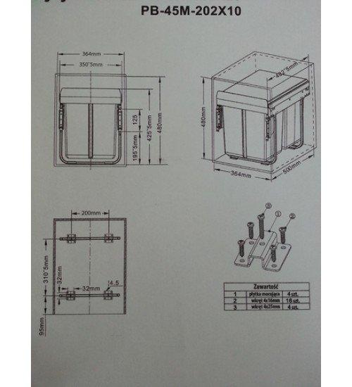 Кухненски кош за вграждане под мивка Mel