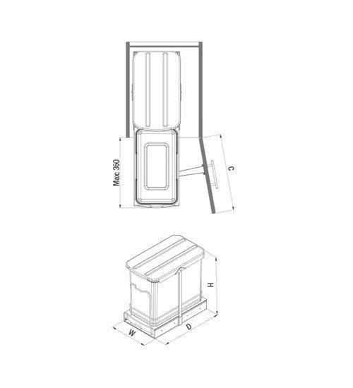 Кош за вграждане на врата 40 см
