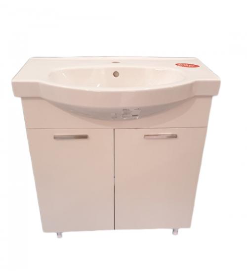 ПВЦ долен шкаф с мива и кош за пране за баня мирела 80 см