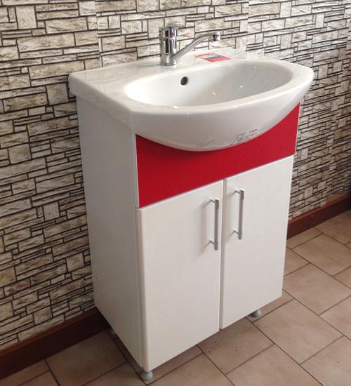 ПВЦ долен шкаф за баня с мивка червен 55 см