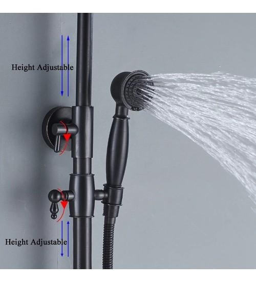Черен душ комплект смесител с меден оттенък за баня